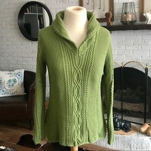 Jeanne Pierre Green Knit Shawl Collar Sweater